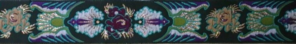 画像1: 〔IG用〕4cm幅仕上がり:Botanical Motif(BK)スリップチョーク ストッパー付