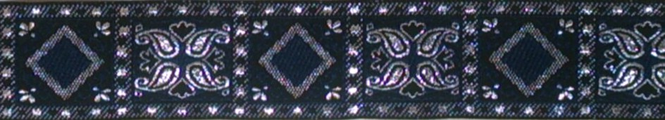 画像1: 〔IG用〕4cm幅仕上がり:ブルー×シルバーオリエンタルスクエア:スリップチョーク ストッパー付