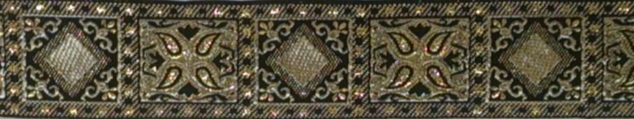 画像1: 〔IG用〕4cm幅仕上がり:ブラック×ゴールド オリエンタルスクエア:スリップチョーク ストッパー付