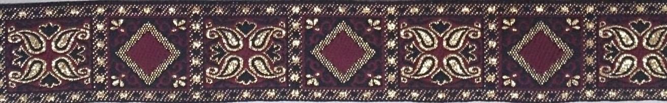 画像1: 〔IG用〕4cm幅仕上がり:ボルドー×ゴールド オリエンタルスクエア:スリップチョーク ストッパー付