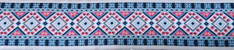 画像1: 【ベルトタイプオーダー:Retro Embroidery(WHT×PK×SAX)(5cm幅)】