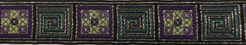 画像1: Greek Key(Metalic green)4cm幅